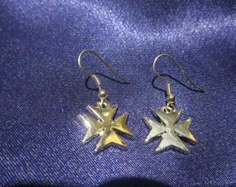 Malta Cross Earrings, Maltese Cross Earrings