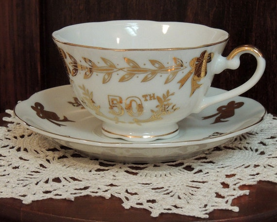 Vintage Lefton Hand Painted Cup & Saucer.. 50th Anniversary.. White W Gold Trim