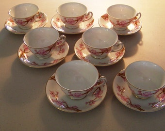 Asahi China Cherry Pattern Seven Cups & Saucers