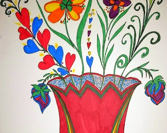 Happy Flowers Bring Happy Times! Ink Painting Brings Life To You! ORIGINAL