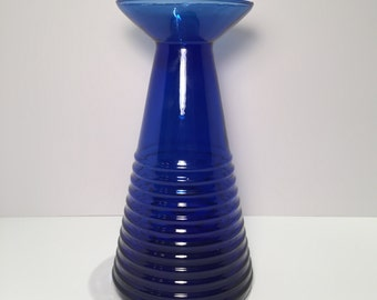Vintage (1970's) Large Cobalt Blue Glass Beaker Design Vase