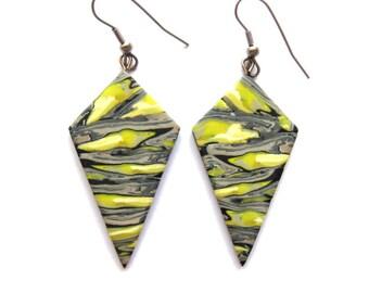 Mustard Yellow Earrings, Gray Earrings, Big Earrings, Geometric Earrings, Polygonal Earrings, Long Earrings, Dangle Earrings Modern Earrings