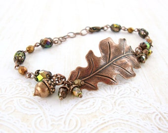 Oak Leaf Bracelet - Green And Antique Copper Jewelry - Woodland Autumn Jewelry - Rustic Autumn Cluster Bracelet - Nature Inspired Jewelry