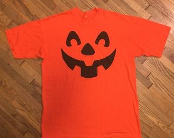 80's Jack O' Lantern Orange Halloween Pumpkin T-shirt