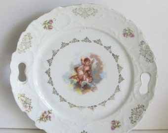 Cherubs and Angels Cake Plate Cherub Plate Collector Plate Angel Lover Cabinet Plate for Wall Hanging Art Nouveau Decor Plate Angel Decor