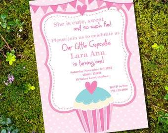 Cupcake Party Theme - Invitation Only - Instantly Downloadable and Editable File - Personalize at home with Adobe Reader