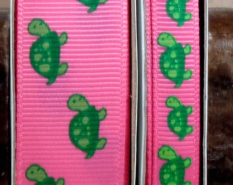 "2 Yards 3/8"" or 7/8"" Green Turtles Print on Hot Pink Grosgrain Ribbon - US DESIGNER"