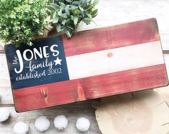 Selah Signs Semi Custom American Flag Family Name sign Americana #merica Memorial Day 4th of July Sign Custom Family Sign Established Sign