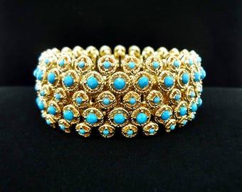 Vintage Rhinestone Stretch Bracelet, Gold Stretch Bracelet, Vintage Bracelet, Expandable Bracelet, Wide Cuff Stretch Bracelet