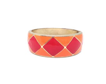 Stunning Estate Orange Red Enamel Gold Tone Clamper Bracelet