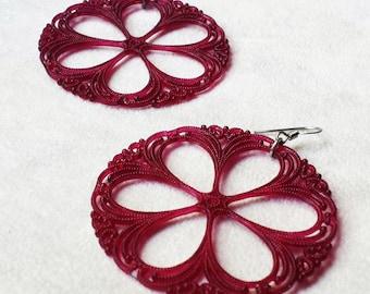 Burgundy Vintage Lucite filigree statement earrings, large Boho Colorful earrings, Bohemian earrings, gift for her, gift for wife