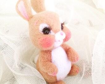 Handmade brown bunny needle wool felt