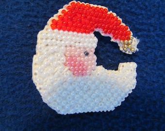 Handmade Beaded Christmas Holiday Crescent Shaped Santa
