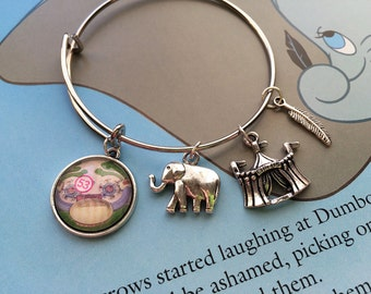 Disney charm bracelet, Disney Park map, Dumbo bracelet, upcycled jewelry, bridesmaid gift, first anniversary gift, FE gift
