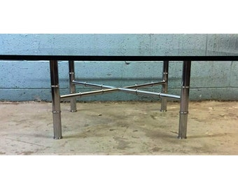 Chrome Hollywood Regency style Faux Bamboo Coffee Table