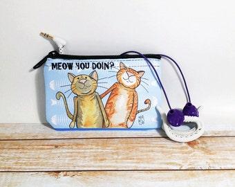 Miaou chats Coin Purse changement pochette portefeuille Cat Pun humour miauler tu fais