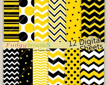 "ON SALE Digital paper background 12""x12"" , printable paper , No.166/2 printable background, polkadots , yellow black chevron , Instant"
