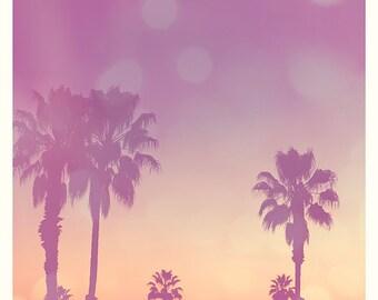 beach sunset photograph, Paradise, Santa Monica California palm trees print, tropical photo, purple peach coral, nursery room decor, summer