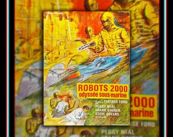 ROBOTS 200 (1969) Very Rare 4 x 6 ft french Grande Fold Giant Movie Poster Original Vintage Collectible