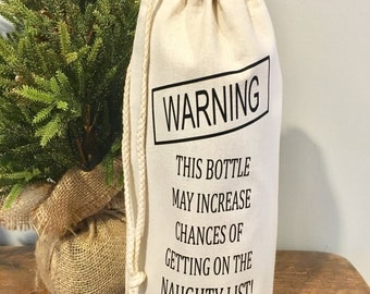 Naughty list Wine Bag, Christmas Wine bag, Holiday gift, Christmas Gift, Wine bag, Hostess Gift, Gift for wine lover, Holiday Wine Bag