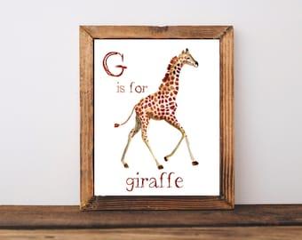G is for Giraffe Watercolor Nursery Sign
