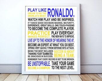 Play Like Ronaldo -  Soccer Poster | CR7 | Inspirational Manifesto | Gift for Soccer Players | Soccer Gift | Soccer Player Art