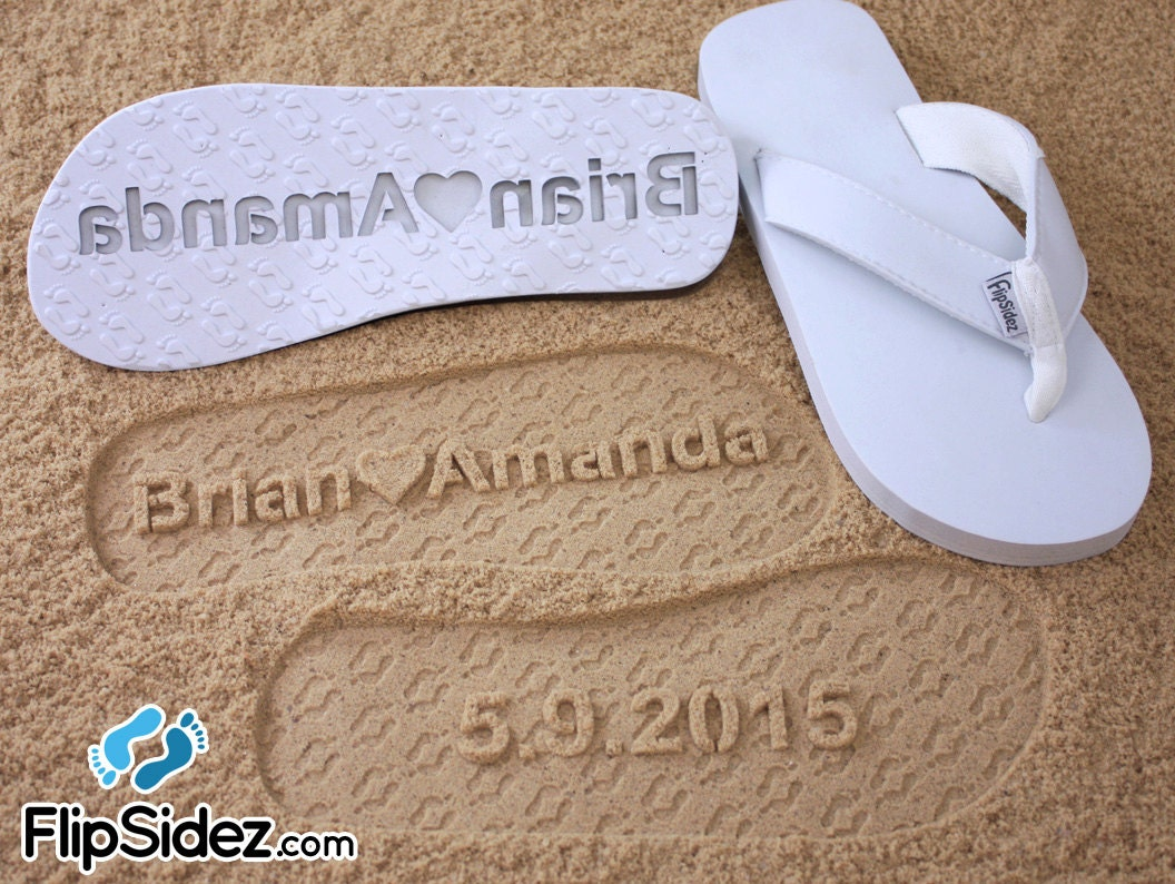 Custom Beach Wedding Sandals - Personalize Your Own Sand Imprint Design *check size chart, see 3rd product photo*