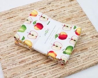 Large Cloth Napkins - Set of 4 - (N5322) - Apple Fruit Modern Reusable Fabric Napkins