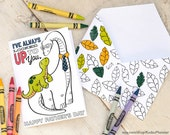 """INSTANT DOWNLOAD Fathers Day Card Coloring page longneck dinosaur printable craft classroom daycare activity. """"I've always looked up to you"""""""