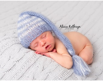 Mohair Newborn Hat, Newborn Elf Hat, Newborn Boy Hat, Newborn Girl Hat, Newborn Photo Prop, Knit Newborn Hat, Vintage Baby Hat, Newborn
