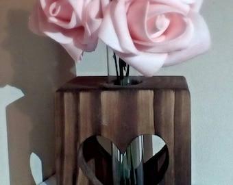 Reclaimed wood gift Single Stem Test Tube Vase