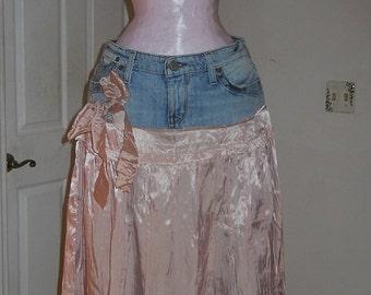 Pink silk ruffled  jean skirt upcycled denim mauve flower bow  Renaissance Denim Couture bohemian faerie