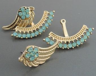 Ear Jackets - Blue Earrings - Aquamarine Ear jackets - Angel Wing Gold Earrings - Feather Earrings - Stud Earrings - Boho Earrings
