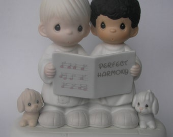 """Precious Moments """"Perfect Harmony"""" Porcelain Figurine - Enesco - Vintage Collectible - 1994 - Retired - Choir Boys - Singing - Music"""