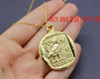 Ancient Greek Owl Necklace, Gold coin Necklace, Caesar coins Necklace, Roman Necklace, gift for women, Owl Necklace, Women necklace