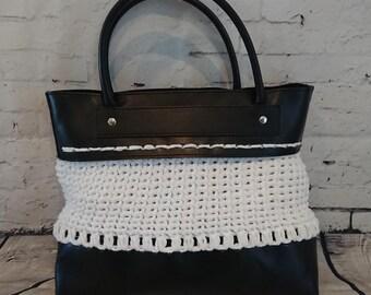 Handbag, bag in faux/CROCHET hook