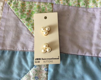 Two Vintage Carded Shank Buttons, 3/4 in., Three Faux Pearls In a Gold Toned Setting, Made in Taiwan