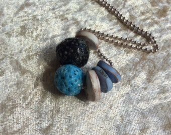 Porcelain textured round beads necklace,Rustic ceramic discs necklace,Black turquoise blue necklace