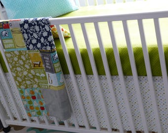 Crib Bedding/Baby Bedding/Mason Jar Blanket/Girl Bedding Set/Neutral Crib Set/Patchwork Crib Blanket/Baby Girls Blanket/Farm Girl Blanket
