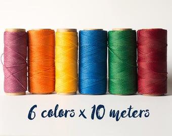 Linhasita macrame thread, linhasita macrame cord, polyester macrame thread, 6 color rainbow set, rainbow 60 meters macrame thread macrame