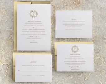 Gold Monogram Wedding Invitation, Gold Invitations, Gold Theme, Simple Gold Invitation, Wedding Invites, Gold Foil, Foil Stamped, Menus
