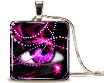 Fuchsia Eye, Glass Tile Necklace, Glass Tile Pendant, Glass Cabochon, Ready to Ship, Pink and Black