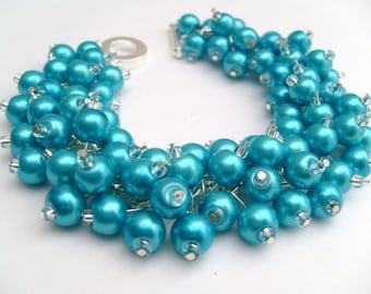 Bridal Jewelry, Wedding, Pearl Bridesmaid Bracelet, Turquoise Blue Bracelet, Cluster Bracelet, Pearl Bracelet, Blue Pearl Jewelry