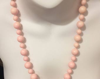 Pastel Pink Vintage Plastic Beaded Necklace