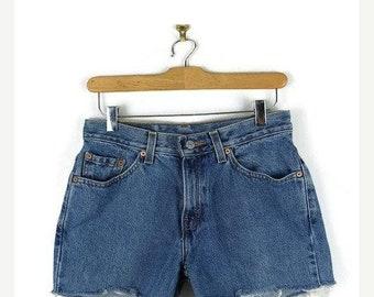 ON SALE Vintage Levi's 517 Blue Denim Cut Off Shorts