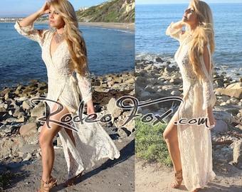 Country Boho wedding dress Handmade Crochet Vintage Lace Hippie Beach Bridal Festival Rodeo Fox Garden wrap Gown