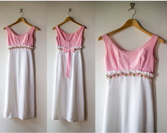 Vintage 1960s Pink and White Empire Waist Formal / Prom Dress  - Size S