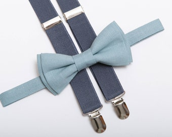 Ring bearer outfit Toddler bow tie Boys bow tie Wedding bow tie Light Blue bow tie Gray suspenders Page boy Bowtie Kid bow tie Mens bow tie