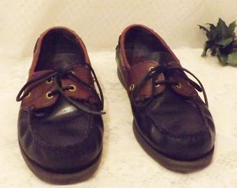 Bass Two Tone Black Brown Men's Leather Boat Shoes Size 10