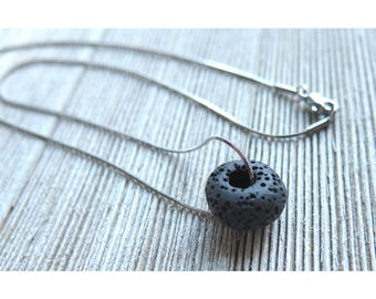 Singular Lava Bead Stainless Steel Necklace